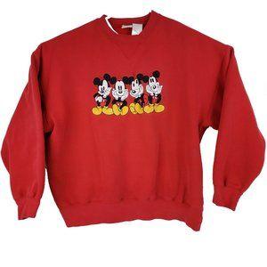 VTG Mickey Mouse Disney Sweatshirt Red Crew XXL
